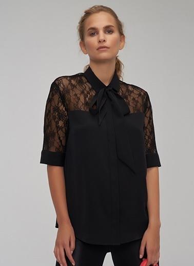 People By Fabrika Dantel Detaylı Gömlek Siyah
